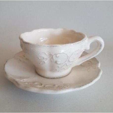 Kerámia teás csésze Romantik csipkés