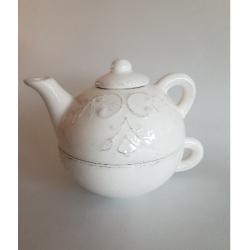 Kerámia egyszemélyes teáskanna csészével