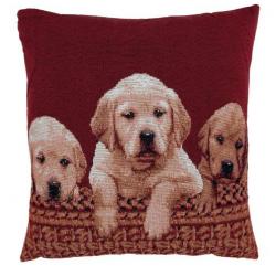 3 kutyás, piros - textil párnahuzat 45x45cm