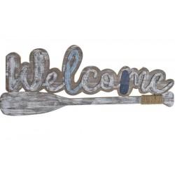 Fa dekoráció Welcome tábla evezőlapáttal