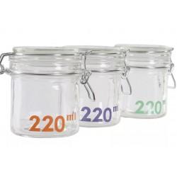 Csatos tároló üveg 220 ml 3 szín