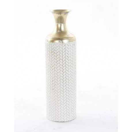 Fém váza fehér, aranyozott 59cm