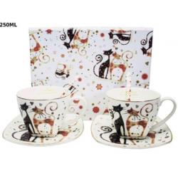Porcelán csésze+alj szett 2db-os cicák