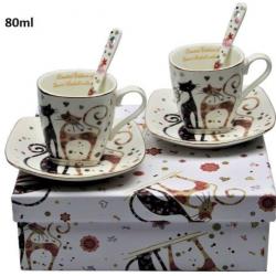 Porcelán eszpresszó csésze+alj szett kanállal