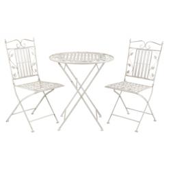 Antikolt kovácsoltvas jellegű asztal 2db székkel