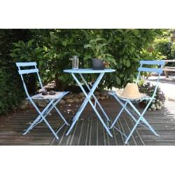 Fém kerti asztal + 2 szék kék