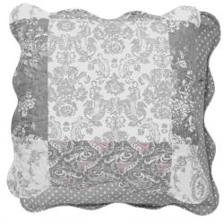 Steppelt szürke fehér rózsás - textil párnahuzat 50x50cm
