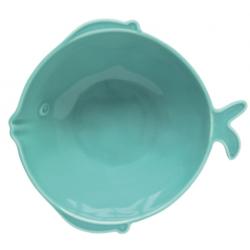 Porcelán tál hal forma türkiz