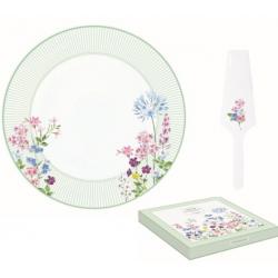 Porcelán tortatál lapáttal 32cm virágos