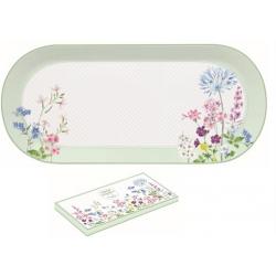 Porcelán tálca ovális virágos