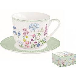 Porcelán reggeliző csésze aljjal díszdobozban