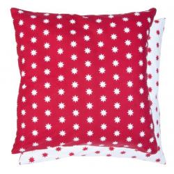 Piros-fehér csillagos - textil párnahuzat 50x50cm