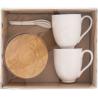 Porcelán bögre szett 2 db-os bambusz aljjal és porcelán kanállal