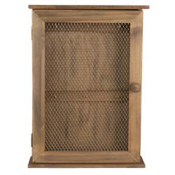 Fa Kulcsos szekrény drótrácsos ajtóval
