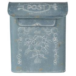 Antikolt kék fém postaláda virágos