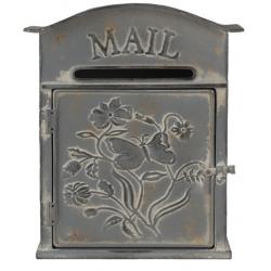 Antikolt szürke fém postaláda lepkés