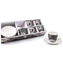 Porcelán eszpresszó csésze+alj szett 6 db