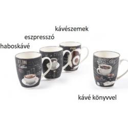 Porcelán bögre kávés 300ml 4 féle minta
