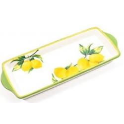 Kerámia hosszúkás tálca citromos