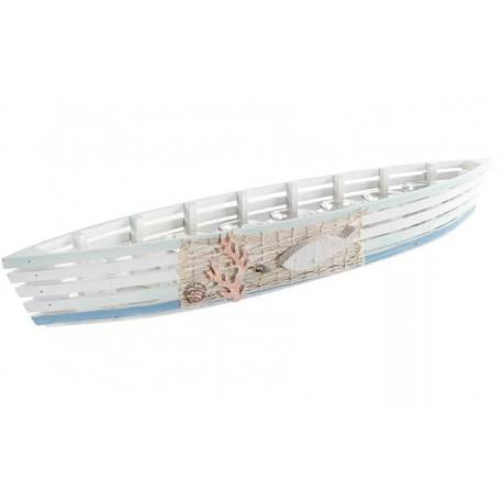 Csónak alakú fa gyertyatartó üveg mécsesekkel