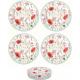 Porcelán desszerttányér szett 4db-os Pipacsos