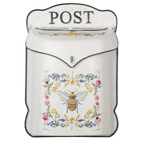 Postaláda fehér méhecskés virágos