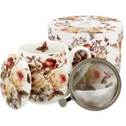 Porcelán bögre fém teaszűrővel és tetővel
