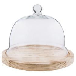 Fa kínáló tál üveg búrával