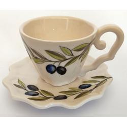 Kerámia kávés csésze Violin olajbogyós