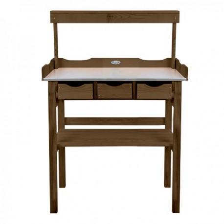 Fából készült ültetőasztal polccal és fiókokkal
