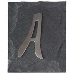 Házszám rozsdamentes acél palatáblán A betű