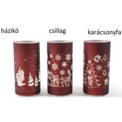 Karácsonyi ledes üveghenger 10x20cm 3 féle