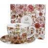 Porcelán csésze+alj 470ml díszdobozban Pastel Flowers