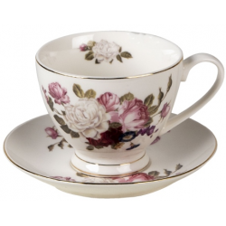 Porcelán csésze + alj 200ml rózsás