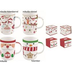 Porcelán bögre 4 féle választható karácsonyi mintával