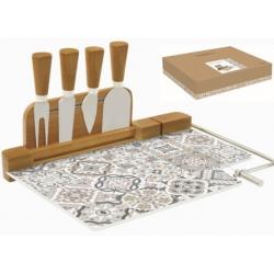 Sajtvágó készlet üveglappal bambusszal 4 db késsel Casa Dekor
