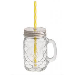 Szívószálas befőttes üveg pohár 4,5dl - kakasos