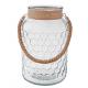 Üveg gyertyatartó kötél fogantyúval 18x28cm
