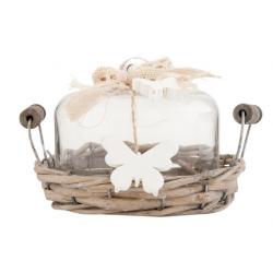 Rattan tálcás kínáló, üveg búrával, fa fehér pillangókkal