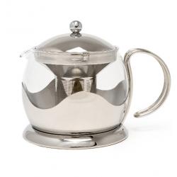 Teáskanna szűrővel üveg belsővel,rozsdamentes külsővel, 1200ml,ezüst,Le Teapot