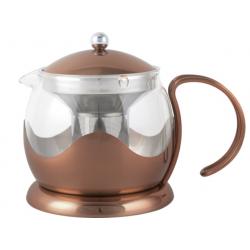 Teáskanna szűrővel üveg belsővel,rozsdamentes külsővel, 660ml