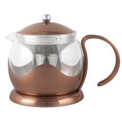 Teáskanna szűrővel üveg belsővel,rozsdamentes külsővel, 1200ml,réz,Le Teapot