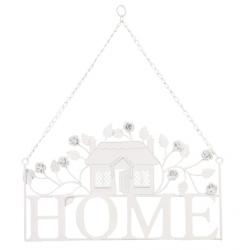 """Fém ajtótábla házikós fehér, 43x51cm,""""Home"""""""