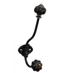 Fém fogas fekete kerámia gombbal,5x10x19cm