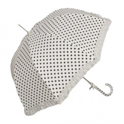 Sétapálca esernyő - krém, fodros, nagy fekete pöttyös