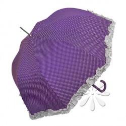 Sétapálca esernyő – lila, fehér pöttyös