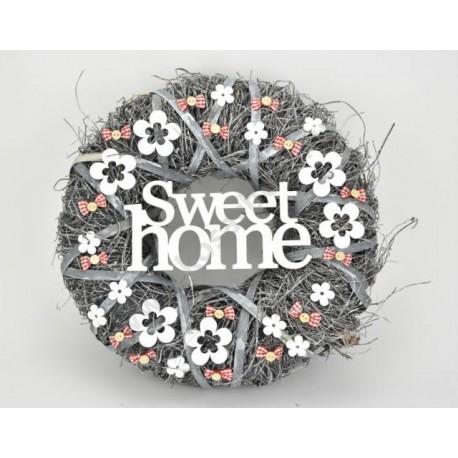 """Ajtókopogtató """"Sweet Home"""" szürke 34cm"""