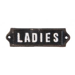 """Öntöttvas ajtótábla """" Ladies """" felirattal, 12x1x3cm"""