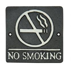 "Öntöttvas fali tábla 12x12cm, ""No Smoking"""