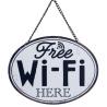 "Fém fali tábla ""Free Wi-Fi Here"" 17x13cm"